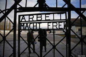 "File picture shows main gate of the former Dachau concentration camp with the sign ""Arbeit macht frei"" in Dachau"